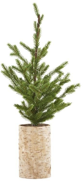 Image of   Juletræ med lys træ bund by House Doctor (H: 64 cm., Natur/Grøn)