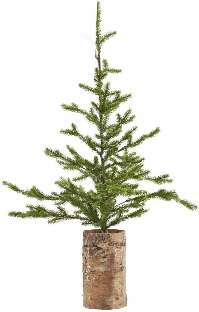 Image of   Juletræ med lys træ bund by House Doctor (H: 90 cm., Natur/Grøn)