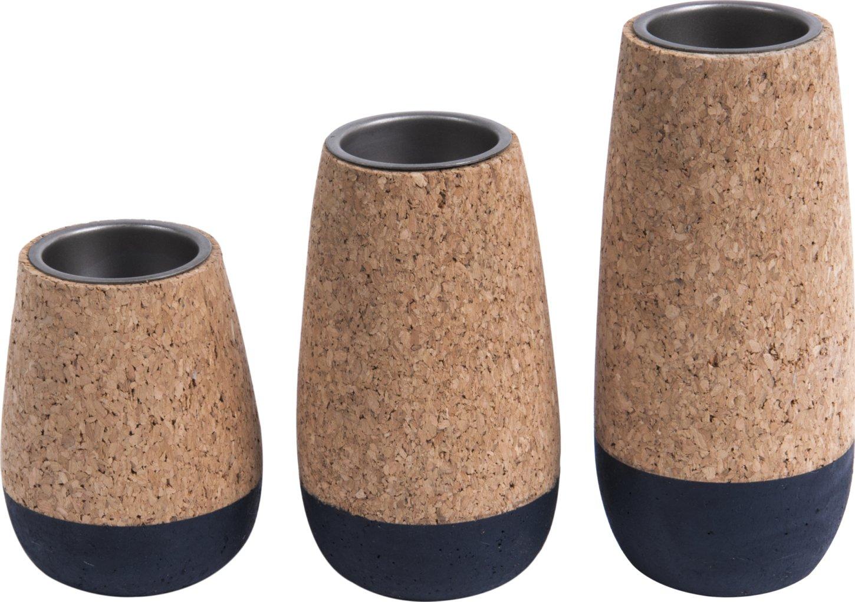 Image of   Fyrfadsstage, Set cone by Present Time (D: 7 cm. H: 15 cm., Kork/Blå)