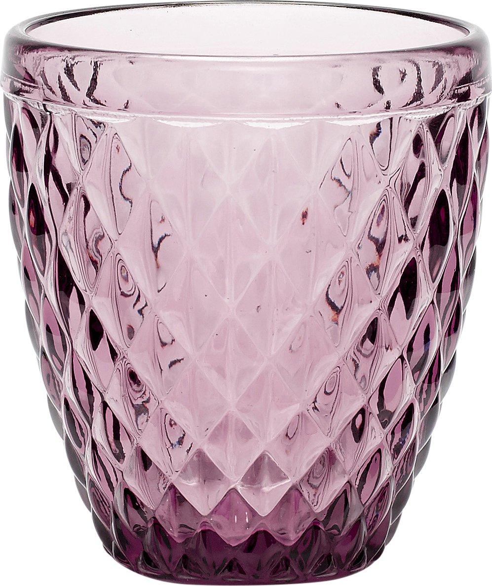 Image of   Fyrfadsglas m. mønster by Hübsch (Ø: 9 cm. H: 10 cm., Lilla)