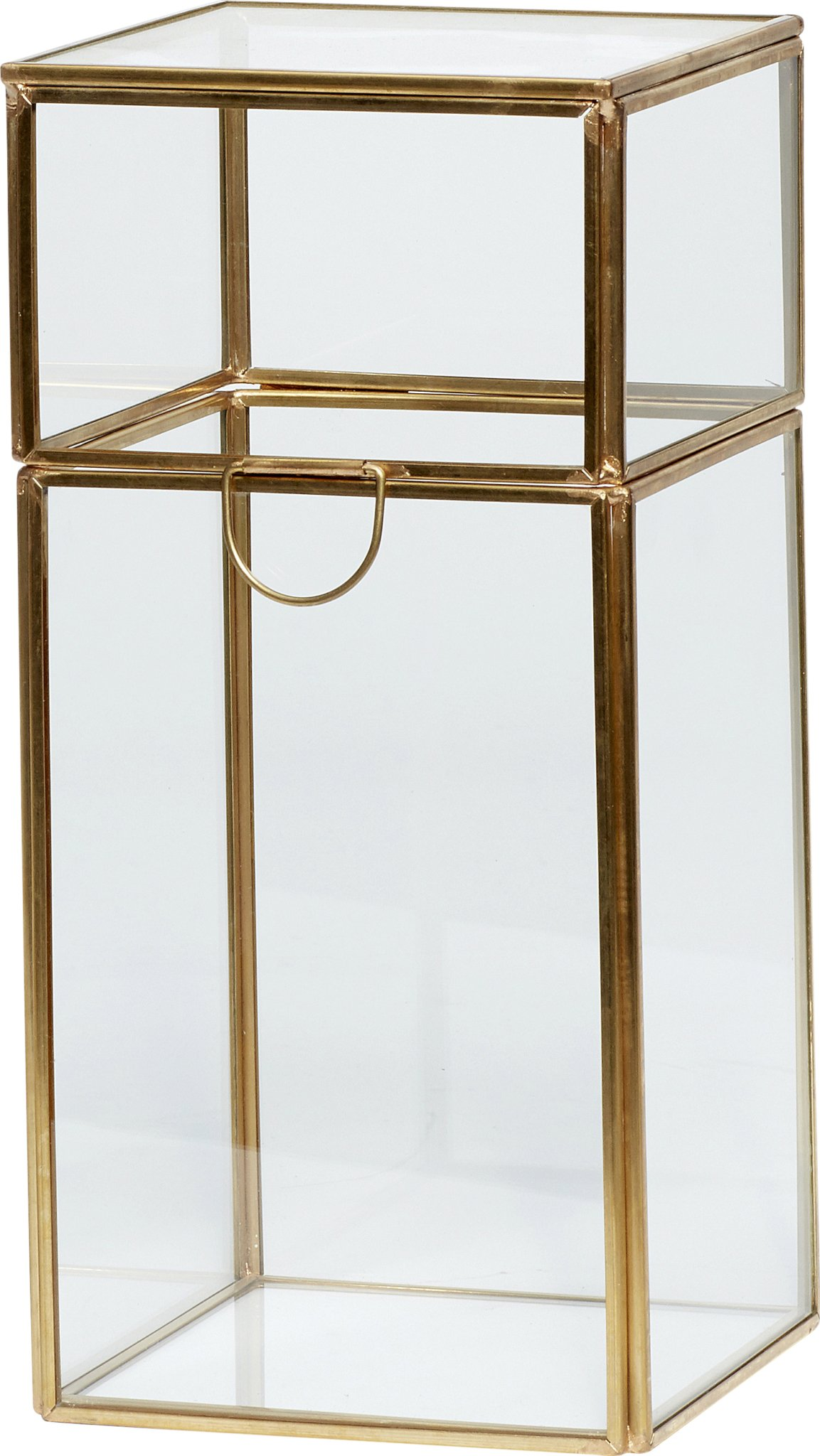 Image of   Glasboks, Signy by Hübsch (H: 26 cm. B: 12 cm. L: 12 cm., Messing/Klar)