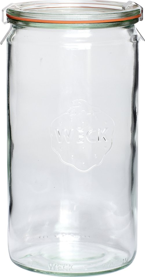 På billedet ser du variationen Opbevaringsm/låg, Weck fra brandet Hübsch i en størrelse Ø: 10 cm. H: 21 cm. (1040 ml) i farven Klar