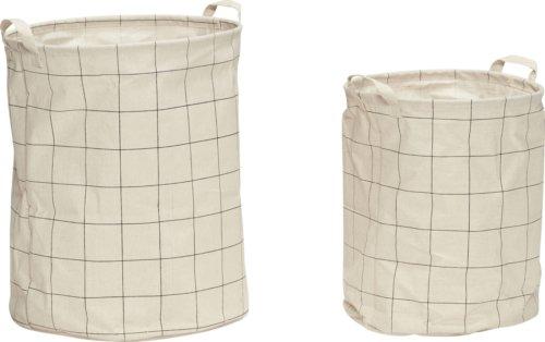 På billedet ser du variationen Vasketøjskurv, m/mønster, Diarmuid fra brandet Hübsch i en størrelse Sæt á 2 stk. i farven Hvid