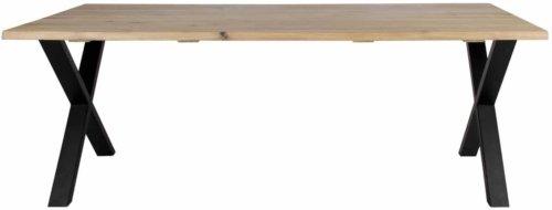 På billedet ser du variationen Plankebord, Curve wave, X base fra brandet Preform i en størrelse H: 74 cm. B: 95 cm. L: 200 cm. i farven Lys Natur/Sort