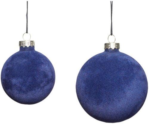 På billedet ser du variationen Julekugle, velour, Udon fra brandet Hübsch i en størrelse Sæt á 2 stk. i farven Blå