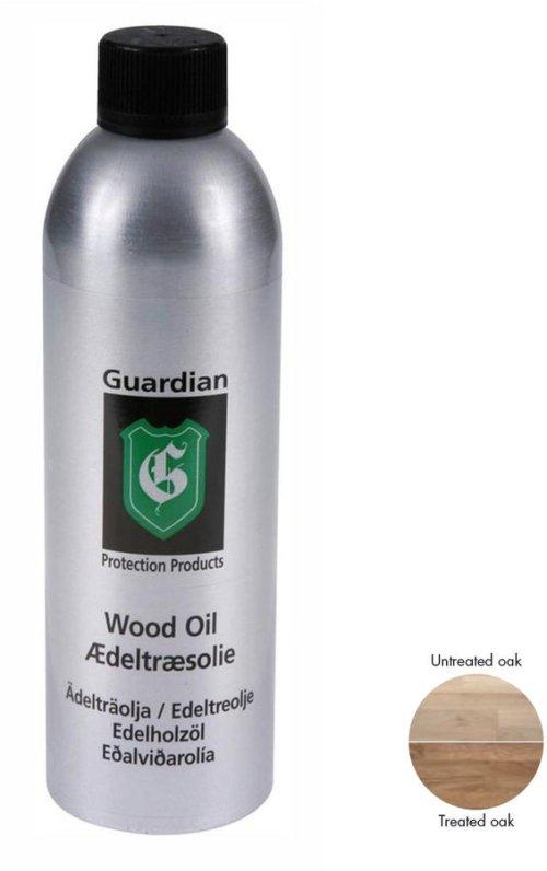 På billedet ser du variationen Ædeltræsolie, plejemiddel til træ, træolie fra brandet Guardian Protection i en størrelse 600 ml. i farven Natur