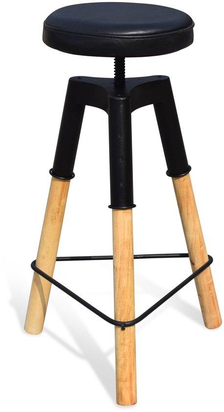 På billedet ser du Barstol med lædersæder, Boi fra brandet OBUZI i en størrelse D: 46 cm. H: 70 cm. i farven Lys Natur/Sort