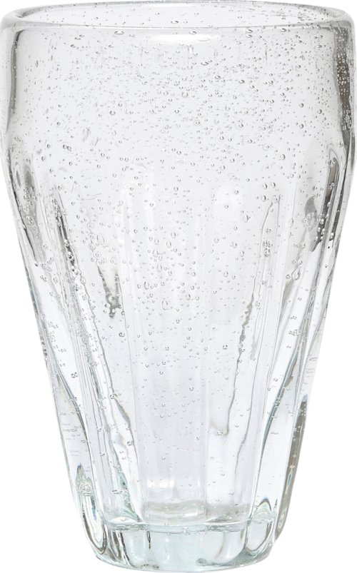 På billedet ser du variationen Drikkeglas/riller, Candida fra brandet Hübsch i en størrelse Ø: 6 cm. H: 14 cm. i farven Klar