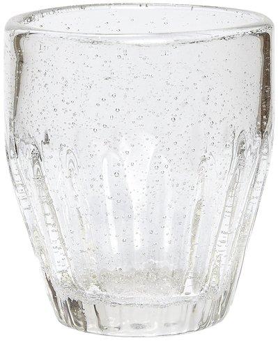 På billedet ser du variationen Drikkeglas/riller, Candida fra brandet Hübsch i en størrelse Ø: 6 cm. H: 10 cm. i farven Klar