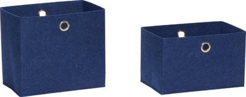 På billedet ser du variationen Filtkurv, Veles fra brandet Hübsch i en størrelse Sæt á 2 stk. i farven Blå