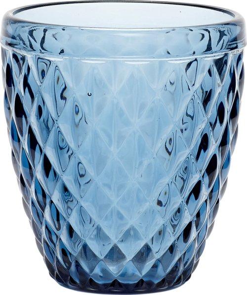 På billedet ser du variationen Fyrfadsglas m/mønster fra brandet Hübsch i en størrelse Ø: 9 cm. H: 10 cm. i farven Blå