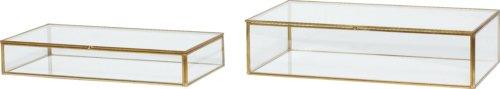 På billedet ser du variationen Glasboks, Sifus fra brandet Hübsch i en størrelse Sæt á 2 stk. i farven Messing/Klar