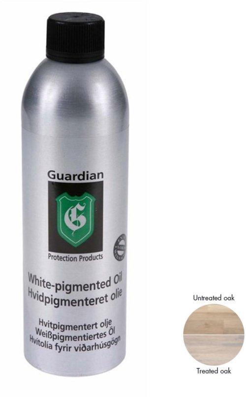 På billedet ser du variationen Hvidpigmenteret oile, plejemiddel til træ, træolie fra brandet Guardian Protection i en størrelse 400 ml. i farven Hvid