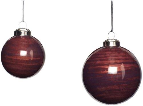 På billedet ser du variationen Julekugle, Agile fra brandet Hübsch i en størrelse Sæt á 2 stk. i farven Mørkerød
