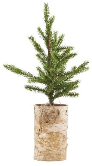 Image of   Juletræ med lys træ bund by House Doctor (H: 44 cm., Natur/Grøn)