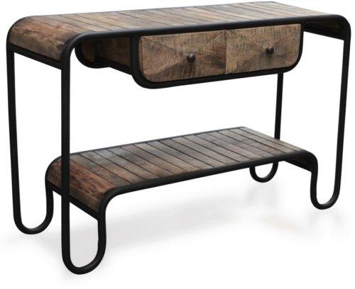 På billedet ser du Konsolbord i mangotræ, Christiania Raw fra brandet OBUZI i en størrelse H: 80 cm. B: 120 cm. L: 40 cm. i farven Mørk Natur/Sort