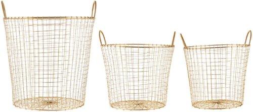 På billedet ser du variationen Kurv, Wire fra brandet House Doctor i en størrelse Sæt á 3 stk i farven Messing