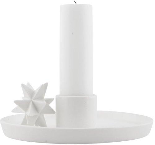 På billedet ser du variationen Lysestage, Tray & star fra brandet House Doctor i en størrelse D: 18 cm. i farven Hvid