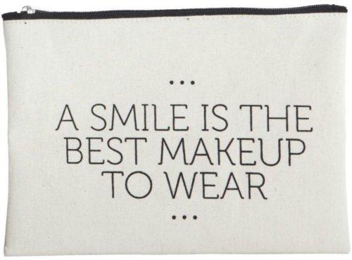På billedet ser du variationen Makeup taske, Smile fra brandet House Doctor i en størrelse 21 x 15 cm. i farven Hvid/Sort