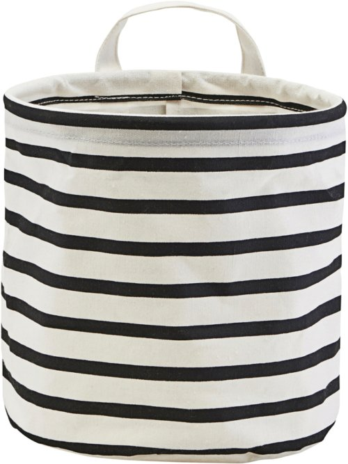 På billedet ser du variationen Opbevaring, Stripes fra brandet House Doctor i en størrelse D: 20 cm. H: 20 cm. i farven Sort/Hvid