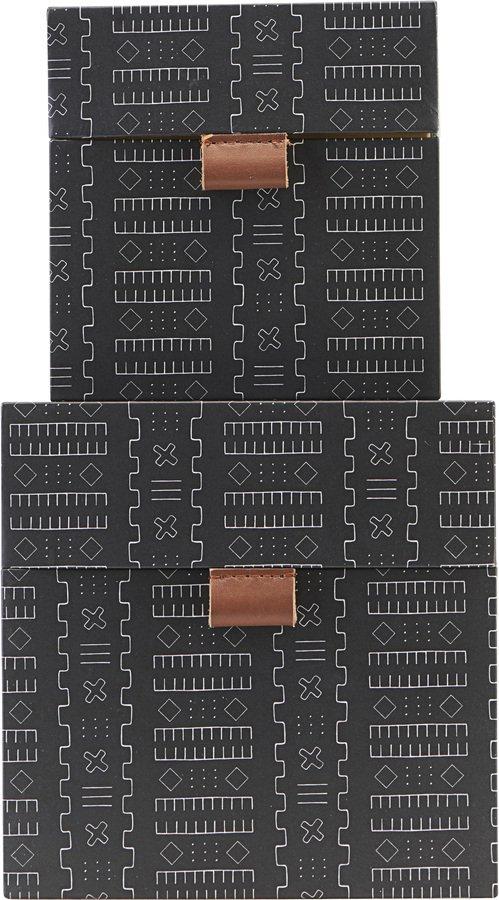 På billedet ser du variationen Opbevaringsbokse, Inka fra brandet House Doctor i en størrelse Sæt á 2 stk. i farven Sort