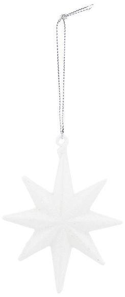 På billedet ser du variationen Ornament, Star, Hvid m. glimmer fra brandet House Doctor i en størrelse H: 9 cm. L: 7 cm. i farven Hid