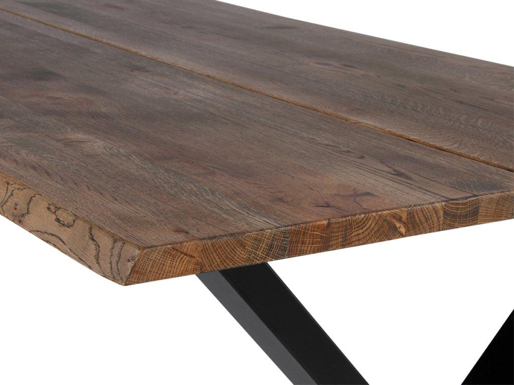 På billedet vises bordplade til plankebord. Varianten der vises er Curve Wave i mørk natur.