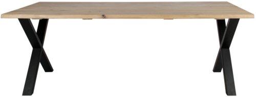 På billedet ser du variationen Plankebord, Curve wave, X base fra brandet Preform i en størrelse H: 74 cm. B: 95 cm. L: 180 cm. i farven Lys Natur/Sort