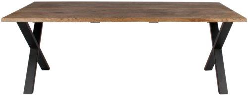 På billedet ser du variationen Plankebord, Curve wave, X base fra brandet Preform i en størrelse H: 74 cm. B: 95 cm. L: 240 cm. i farven Mørk Natur/Sort