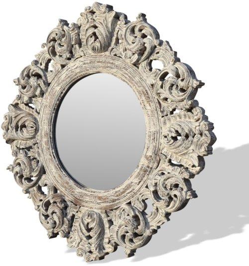 På billedet ser du Rundt vægspejl, Classique fra brandet OBUZI i en størrelse H: 150 cm. B: 150 cm. L: 5 cm. i farven Hvid
