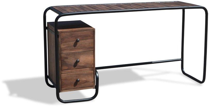 Image of   Skrivebord, Christiania Dark by OBUZI (H: 74 cm. B: 140 cm. L: 45 cm., Mørk Natur/Sort)