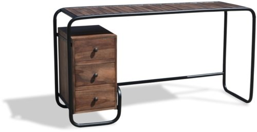 På billedet ser du Skrivebord, Christiania Dark fra brandet OBUZI i en størrelse H: 74 cm. B: 140 cm. L: 45 cm. i farven Mørk Natur/Sort