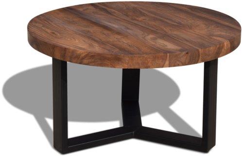 På billedet ser du variationen Sofabord, HayFay Round fra brandet OBUZI i en størrelse D: 80 cm. H: 45 cm. i farven Mørk Natur/Sort