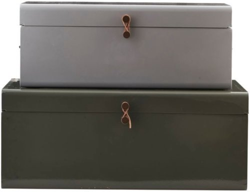 På billedet ser du variationen Storage, Metal fra brandet House Doctor i en størrelse Sæt á 2 stk. i farven Grøn/Lysegrå