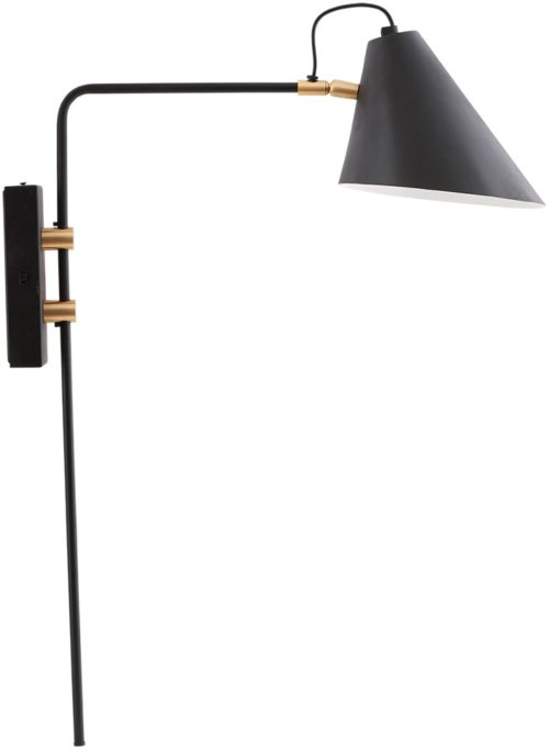 På billedet ser du Club, Væglampe, Enkelt fra brandet House Doctor i en størrelse D: 18-20 cm. x H: 54 cm. x L: 22 cm. i farven Sort