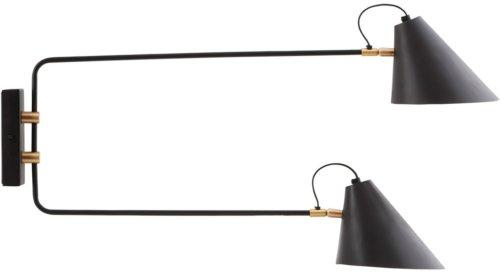 På billedet ser du variationen Club, Væglampe, Dobbelt fra brandet House Doctor i en størrelse D: 18-20 cm. x H: 28 cm. x L:35-55 cm. i farven Sort
