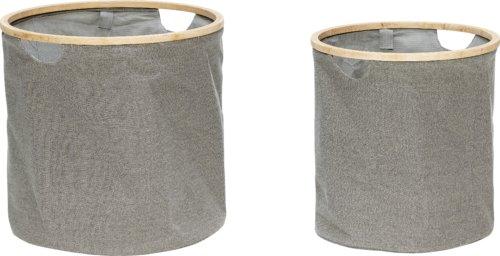 På billedet ser du variationen Vasketøjskurv, Éber fra brandet Hübsch i en størrelse Sæt á 2 stk. i farven Grå