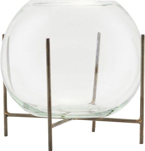 På billedet ser du variationen Vase m. stel, Ada fra brandet House Doctor i en størrelse D: 15 cm. H: 12 cm. i farven Glas