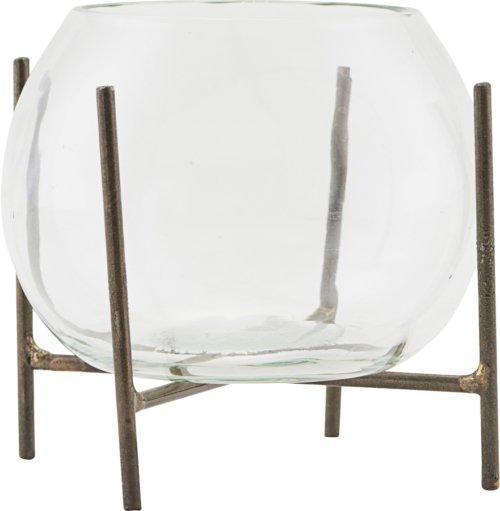 På billedet ser du variationen Vase m. stel, Ada fra brandet House Doctor i en størrelse D: 8 cm. H: 11 cm. i farven Glas