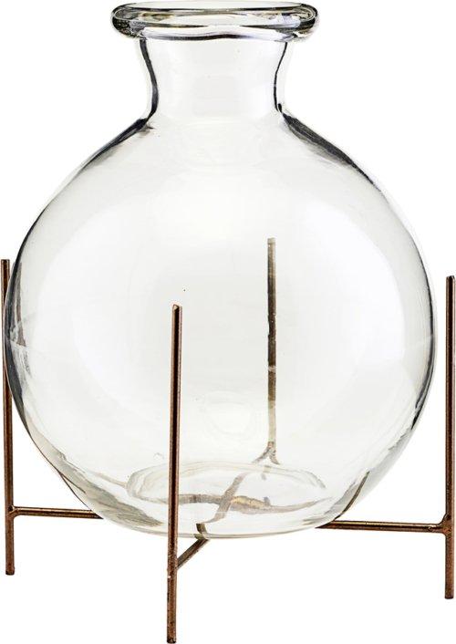 På billedet ser du variationen Vase m. stel, Lana fra brandet House Doctor i en størrelse D: 15 cm. H: 17 cm. i farven Glas