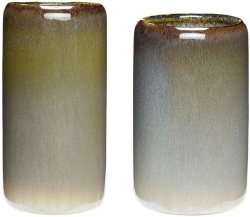 På billedet ser du variationen Vase, Vid fra brandet Hübsch i en størrelse Sæt á 2 stk. i farven Sandfarvet