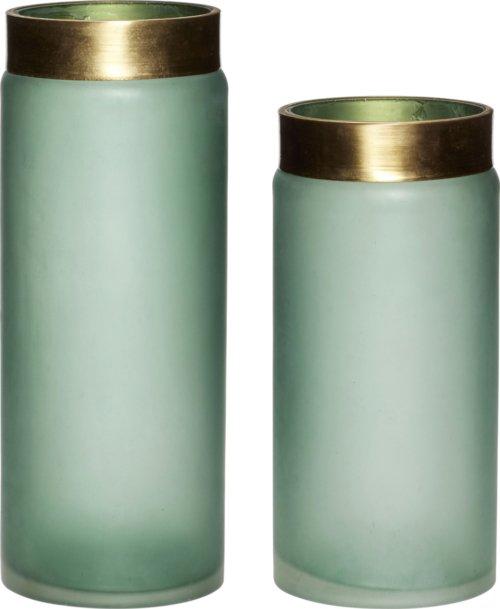 På billedet ser du variationen Vase, Hong fra brandet Hübsch i en størrelse Sæt á 2 stk. i farven Grøn/Guld