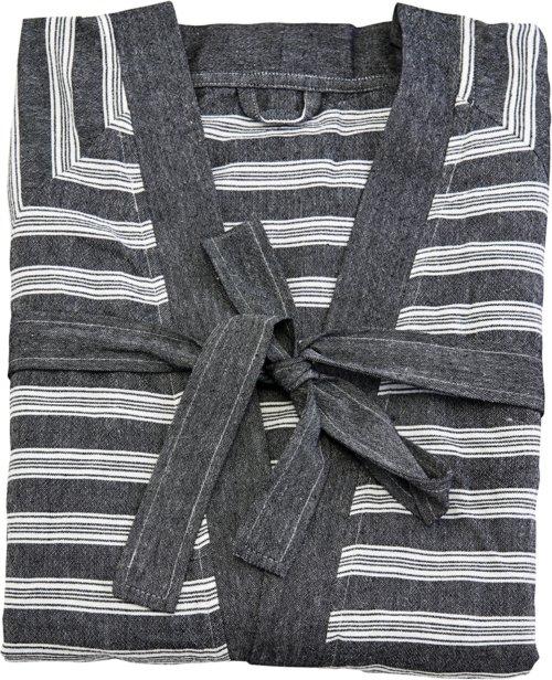 På billedet ser du variationen Badekåbe, Hammam fra brandet Meraki i en størrelse S/M i farven Mørkegrå/Hvid