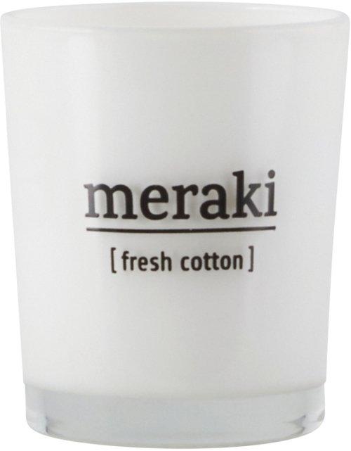 På billedet ser du variationen Duftlys, Fresh Cotton fra brandet Meraki i en størrelse Ø: 5,5 cm. H: 6,7 cm. i farven Hvid