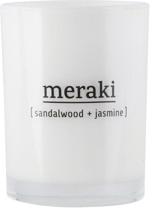 På billedet ser du Duftlys, Sandalwood & Jasmine fra brandet Meraki i en størrelse Ø: 8 cm. H: 10,5 cm. i farven Hvid