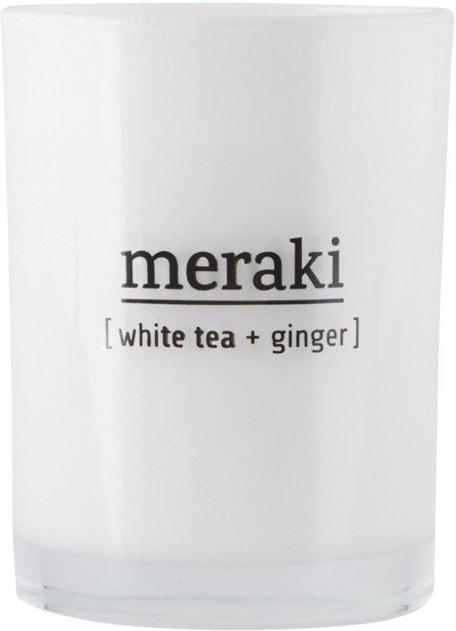 På billedet ser du variationen Duftlys, White tea & Ginger fra brandet Meraki i en størrelse Ø: 8 cm. H: 10,5 cm. i farven Hvid