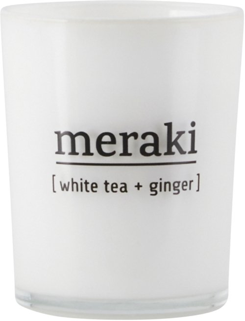 På billedet ser du variationen Duftlys, White tea & Ginger fra brandet Meraki i en størrelse Ø: 5,5 cm. H: 6,7 cm. i farven Hvid