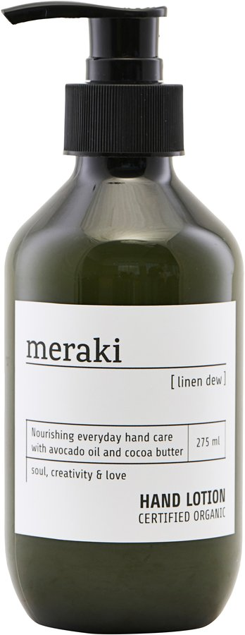 På billedet ser du variationen Hånd lotion, Linen dew fra brandet Meraki i en størrelse Ø: 6 cm. H: 16 cm. i farven Sort/Hvid