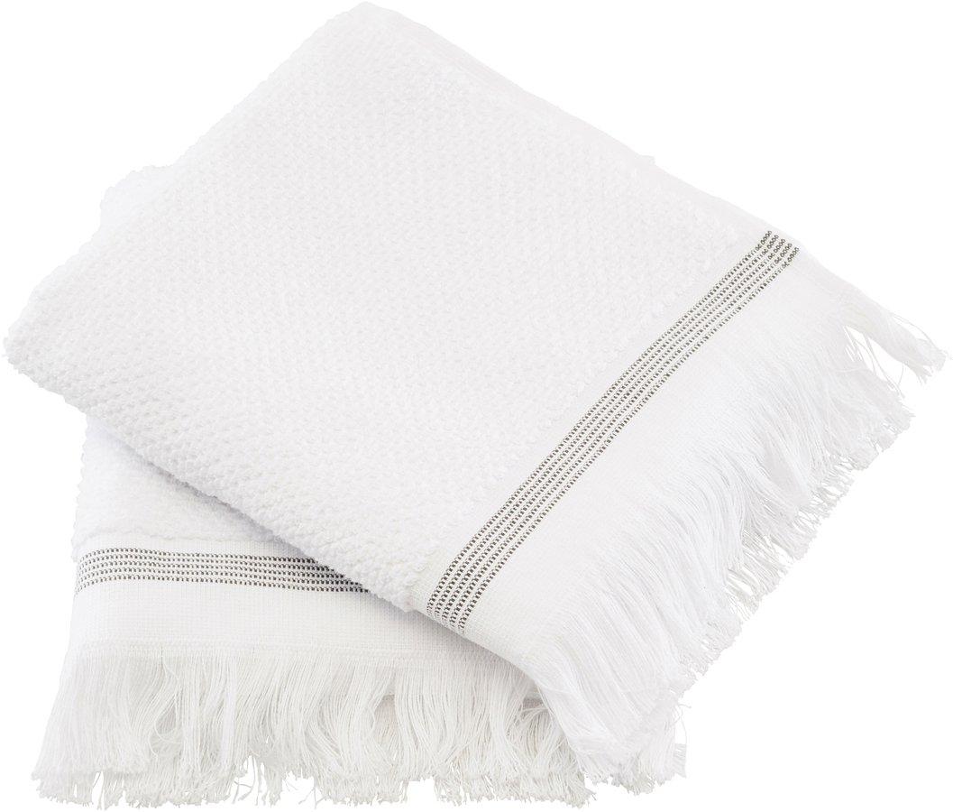 Håndklæde, Hvid med grå striber by Meraki (B: 40 cm. L: 60 cm., Hvid)