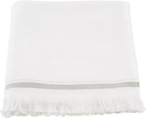 På billedet ser du variationen Håndklæde, Hvid med grå striber fra brandet Meraki i en størrelse B: 70 cm. L: 140 cm. i farven Hvid